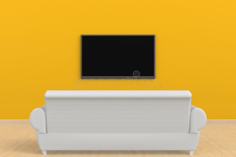 O interior da sala vazia com tevê e sofá, sala de visitas conduziu a tevê no estilo moderno da parede amarela imagem de stock