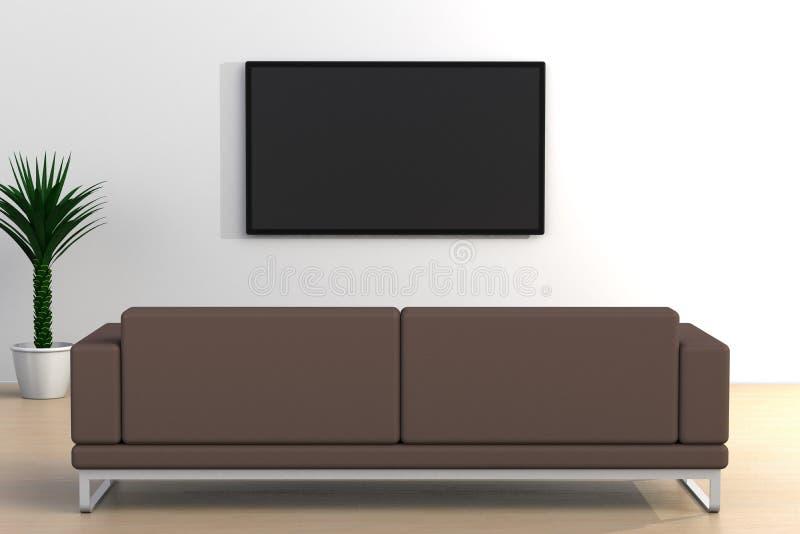 O interior da sala vazia com tev? e sof?, sala de visitas conduziu a tev? no estilo moderno da parede branca ilustração stock