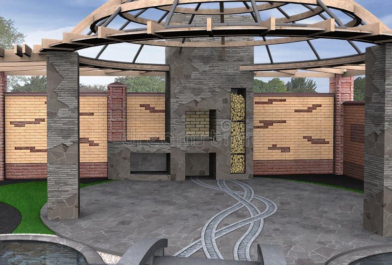 O interior de convite do miradouro, 3D rende ilustração do vetor