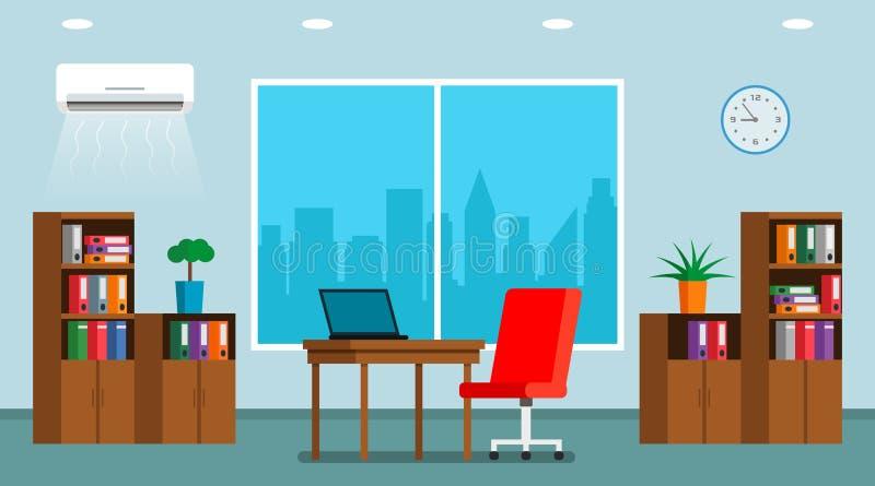 O interior de um grande escritório brilhante com as três grandes janelas e de um panorama da cidade ilustração royalty free