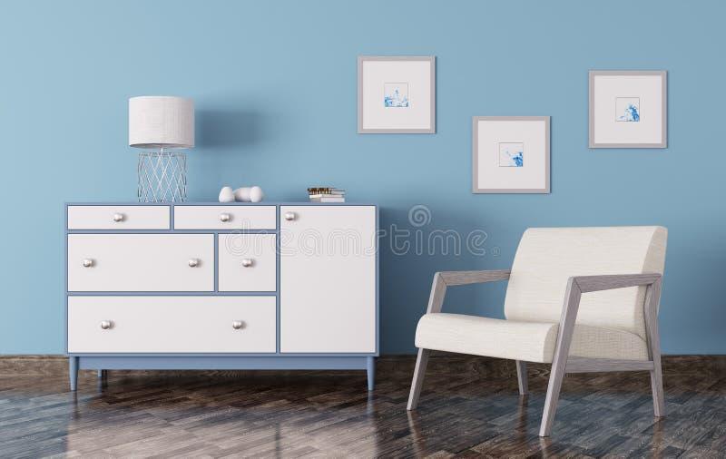 O interior de uma sala com a caixa de gavetas e a poltrona 3d rendem ilustração stock
