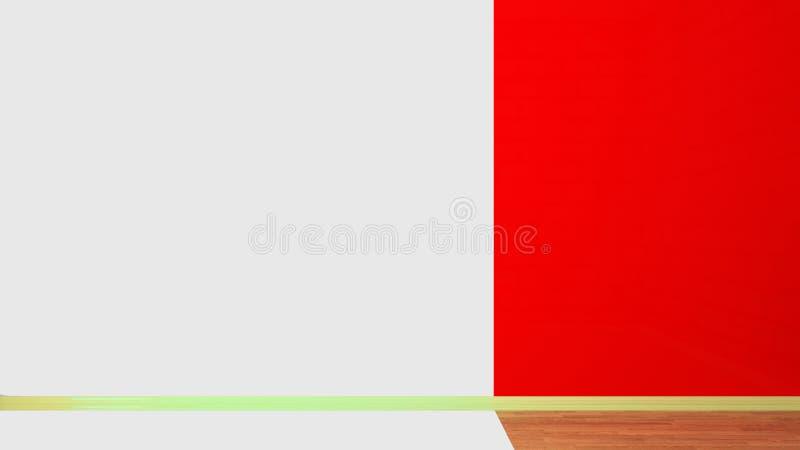 O interior de uma sala vazia, metade-colorido Moldes da parede e madeira vermelhos do parquet ilustração 3D ilustração stock