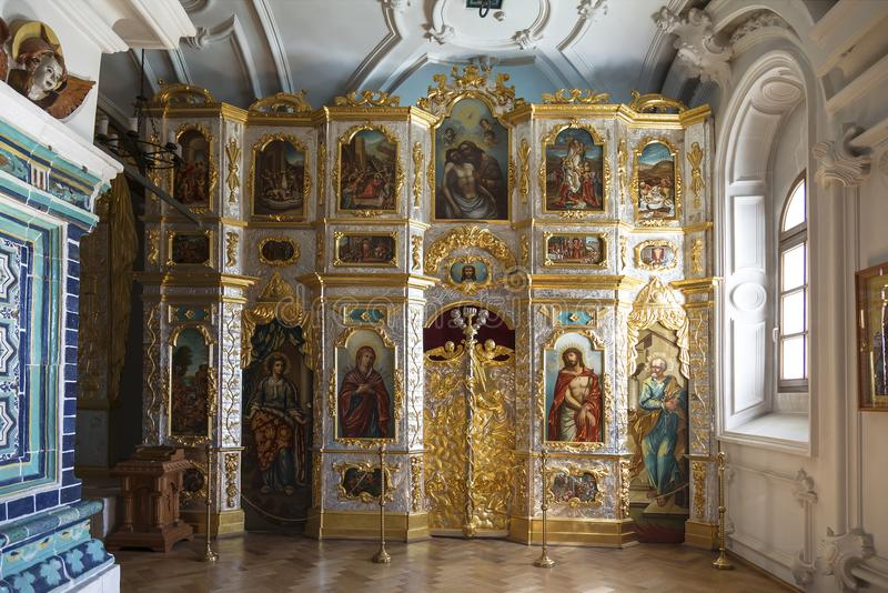 O interior do calvário da catedral da ressurreição do monastério novo de Stauropegic do Jerusalém do Jerusalém da ressurreição, I imagem de stock royalty free