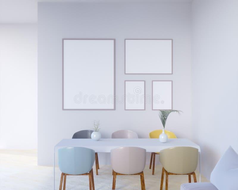 O interior do conceito, zomba acima do cartaz na parede, ilustração 3d rende, render, retro, sala, escandinava ilustração stock