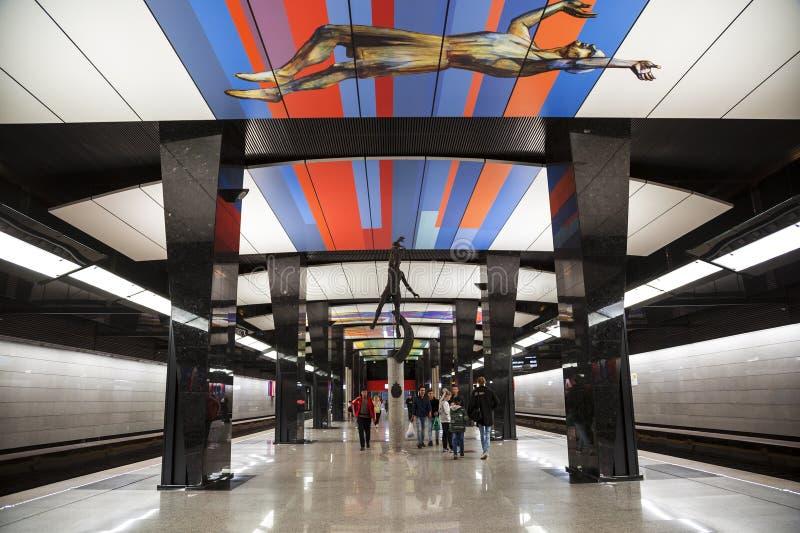 O interior do metro da estação 'CSKA 'Moscou Moscou, fotos de stock