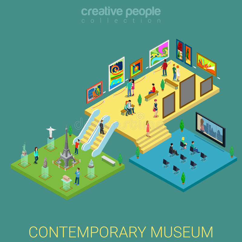 O interior do museu de arte contemporânea pavimenta o vetor 3d isométrico liso ilustração stock