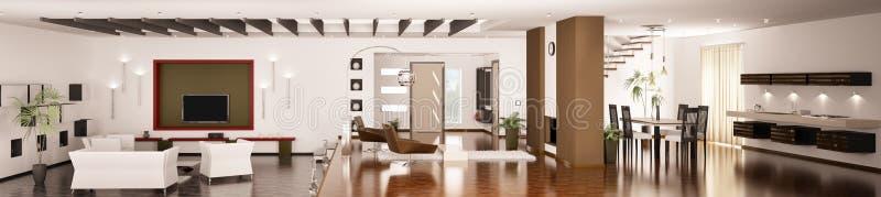 O interior do panorama moderno 3d do apartamento rende