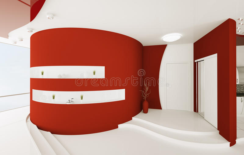 O interior do salão de entrada branco vermelho 3d rende ilustração stock
