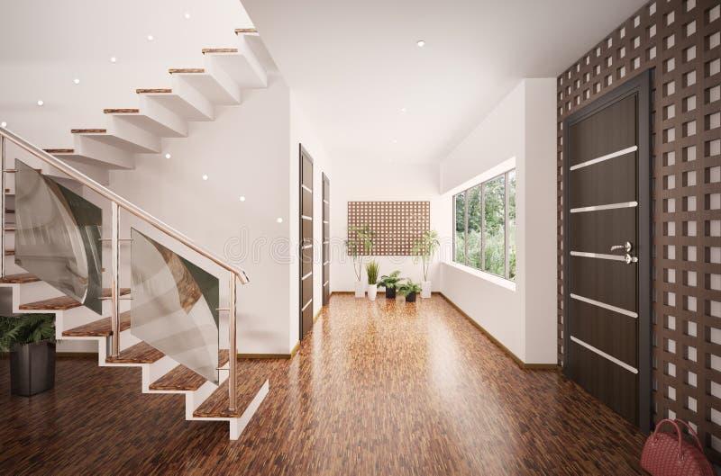 O interior do salão de entrada moderno 3d rende ilustração do vetor