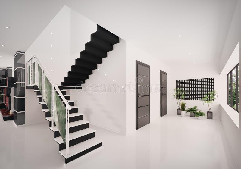 O interior do salão de entrada moderno 3d rende ilustração royalty free