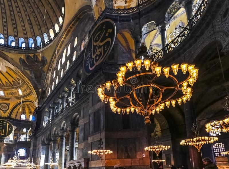 O interior do sophia de Hagia antiga catedral patriarcal crist? ortodoxo, mais tarde uma mesquita imperial do otomano e agora um  imagens de stock