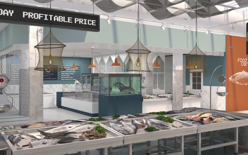 O interior dos peixes frescos e do marisco da loja 3d rendem Projeto de design do mercado de peixes ilustração do vetor