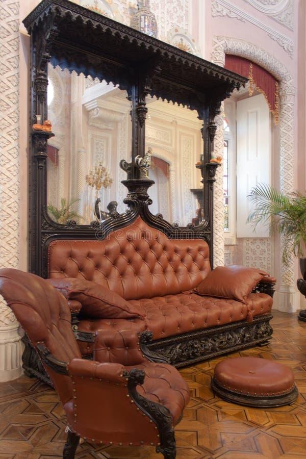 O interior histórico do salão O castelo em Sintra foto de stock
