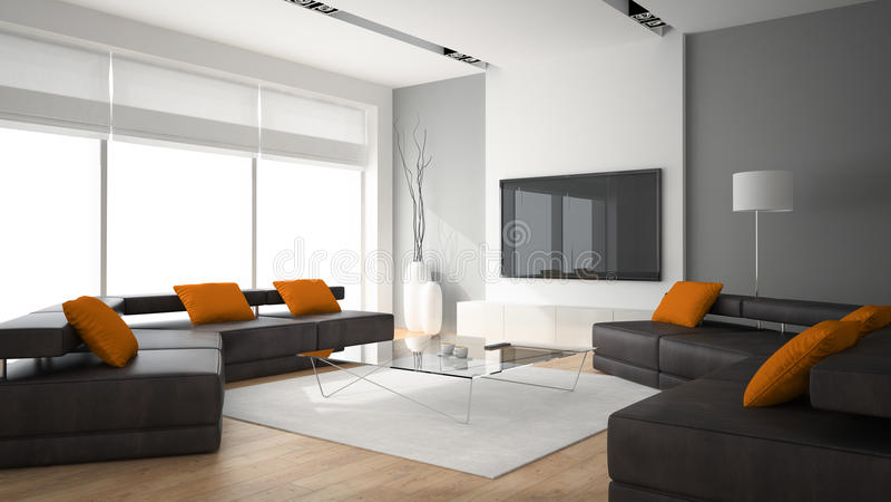 O interior moderno com dois sofás e ornge descansa a rendição 3D ilustração do vetor