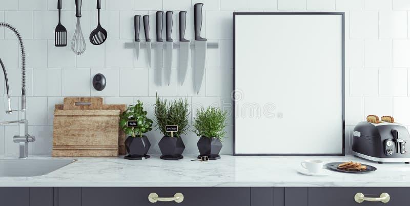 O interior moderno da cozinha com bandeira vazia, zomba acima fotos de stock