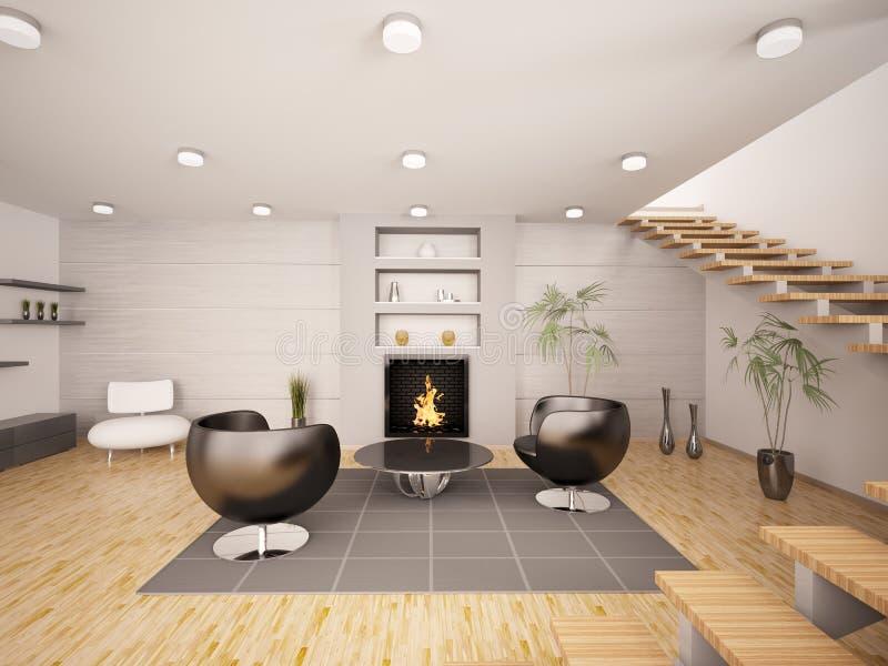 O interior moderno da sala de visitas 3d rende ilustração royalty free