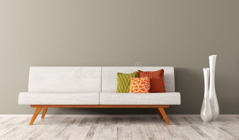 O interior moderno da sala de visitas com sofá branco 3d rende ilustração do vetor