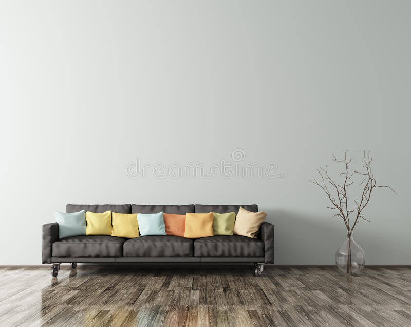 O interior moderno da sala de visitas com sofá preto 3d rende ilustração royalty free