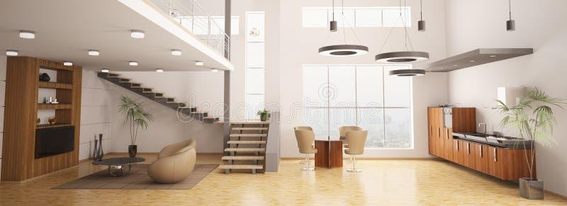 O interior moderno do apartamento 3d rende ilustração do vetor