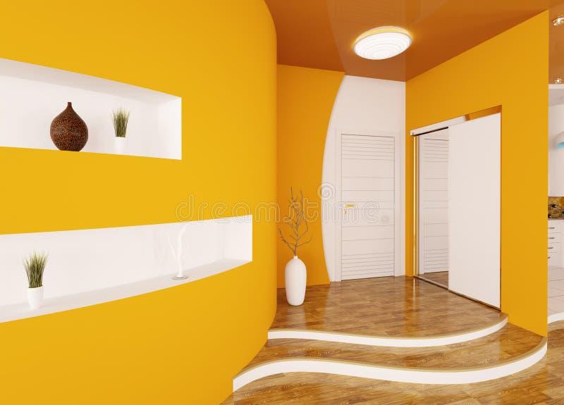 O interior moderno do salão de entrada 3d rende ilustração do vetor