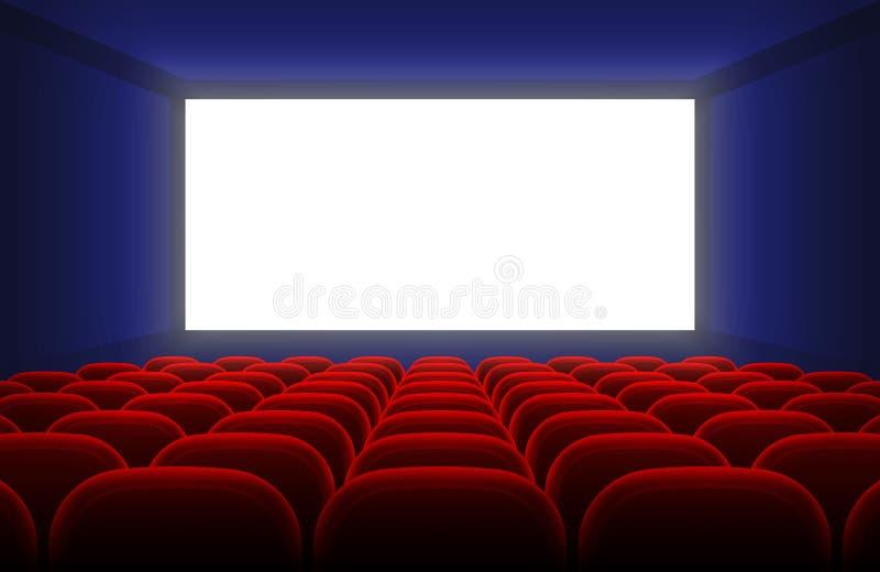 O interior realístico do salão do cinema com a tela branca vazia e os assentos vermelhos vector a ilustração ilustração do vetor