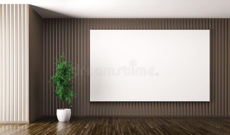 O interior vazio com o cartaz grande na parede 3d rende ilustração do vetor