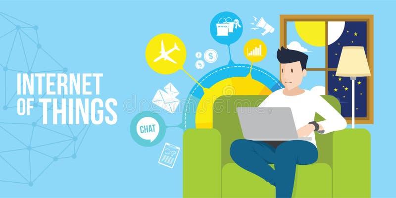 O Internet das coisas equipa o Internet do acesso com portátil ilustração do vetor