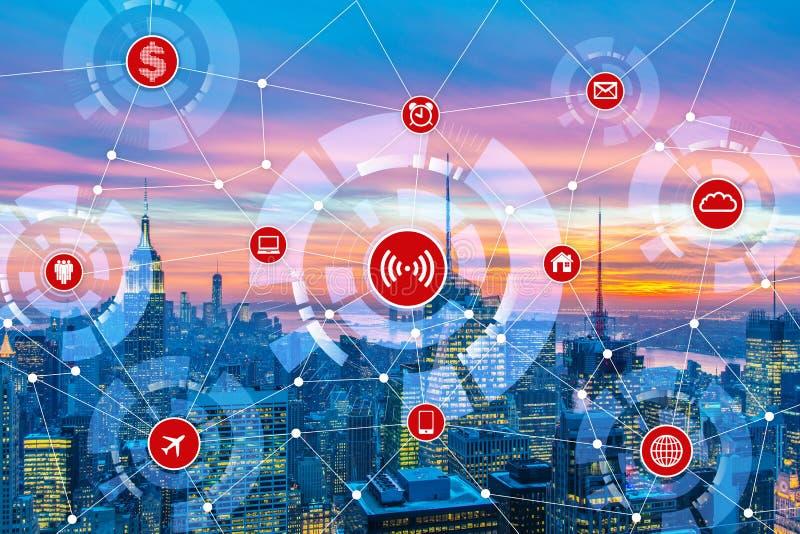 O Internet do conceito das coisas na cidade ilustração do vetor