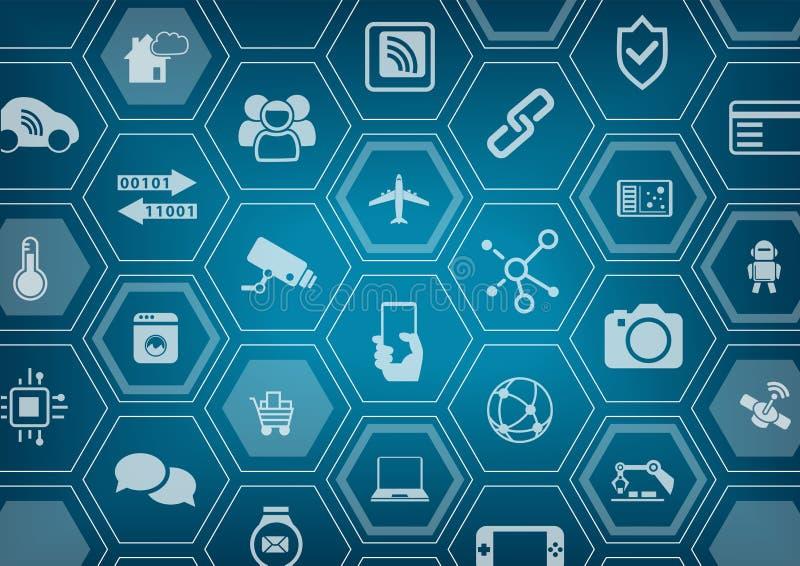 O Internet do fundo azul das coisas IOT com polígono dá forma ilustração stock