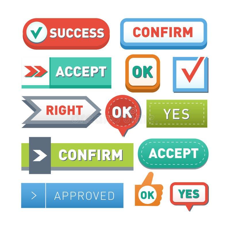 O Internet gráfico lustroso da etiqueta da ilustração colorida do vetor do projeto dos botões aprovados do Web site confirma o mo ilustração royalty free