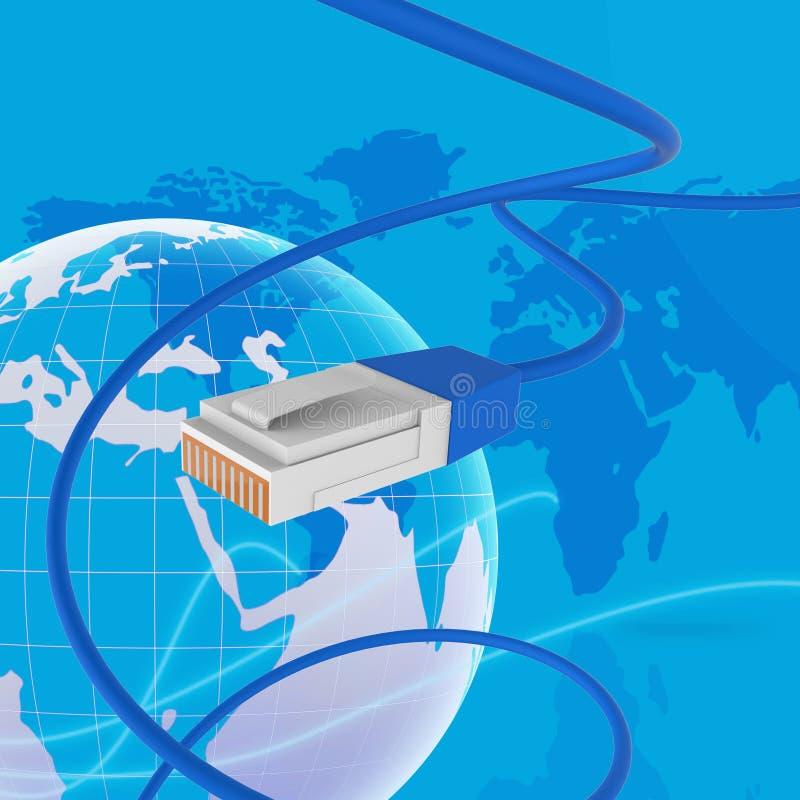 O Internet no mundo inteiro mostra a site e o cabo ilustração stock