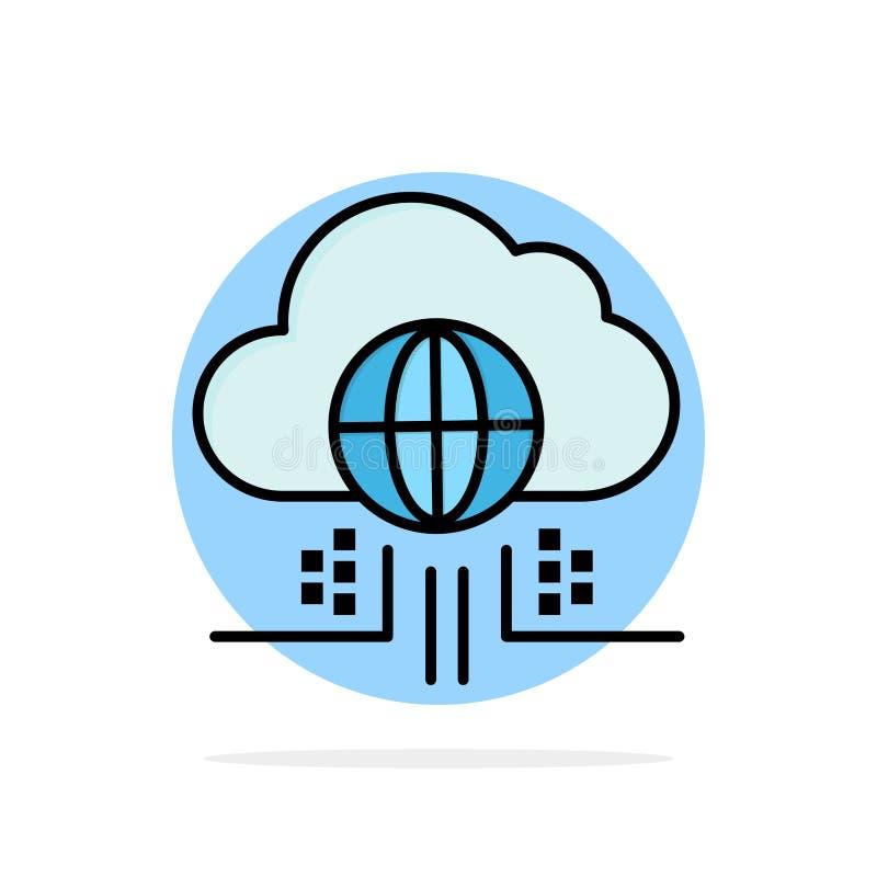 O Internet, pensa, nubla-se, ícone abstrato da cor do plano do fundo do círculo da tecnologia ilustração do vetor