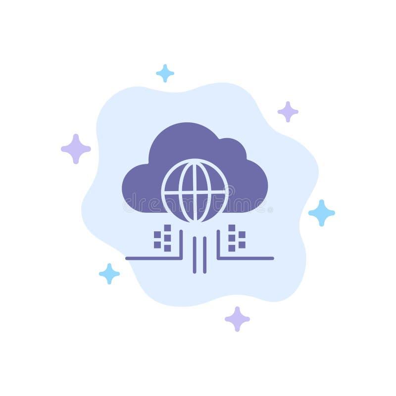 O Internet, pensa, nubla-se, ícone azul da tecnologia no fundo abstrato da nuvem ilustração do vetor