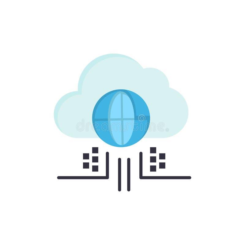 O Internet, pensa, nubla-se, ícone liso da cor da tecnologia Molde da bandeira do ícone do vetor ilustração stock