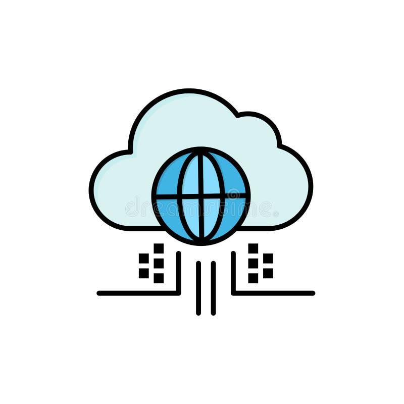 O Internet, pensa, nubla-se, ícone liso da cor da tecnologia Molde da bandeira do ícone do vetor ilustração royalty free