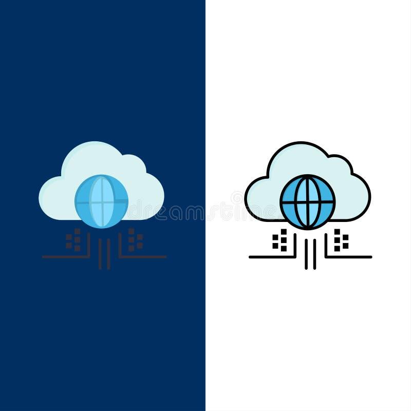 O Internet, pensa, nubla-se, ícones da tecnologia O plano e a linha ícone enchido ajustaram o fundo azul do vetor ilustração do vetor