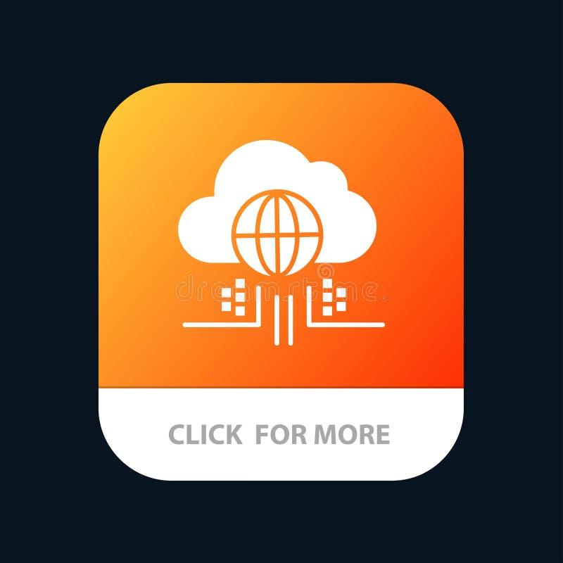 O Internet, pensa, nubla-se, botão móvel do App da tecnologia Android e do Glyph do IOS versão ilustração do vetor