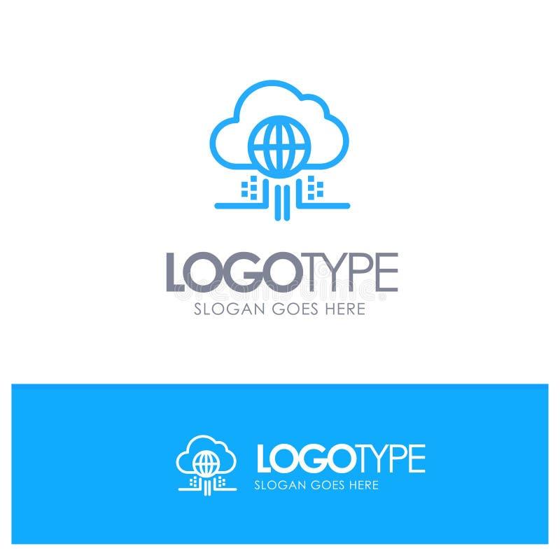 O Internet, pensa, nubla-se, esboço azul Logo Place da tecnologia para o Tagline ilustração stock