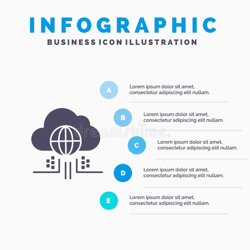 O Internet, pensa, nubla-se, fundo contínuo da apresentação das etapas de Infographics 5 do ícone da tecnologia ilustração royalty free