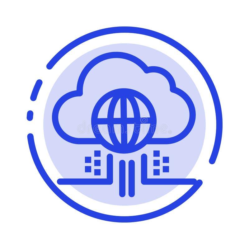 O Internet, pensa, nubla-se, linha pontilhada azul linha ícone da tecnologia ilustração stock