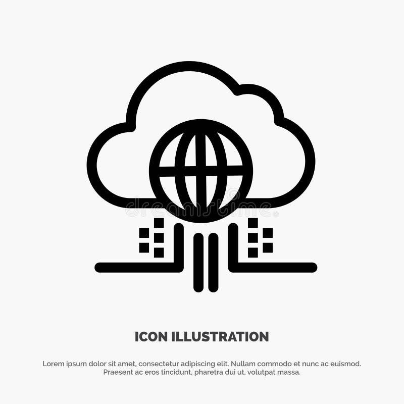 O Internet, pensa, nubla-se, linha vetor da tecnologia do ícone ilustração royalty free