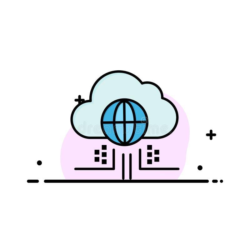 O Internet, pensa, nubla-se, negócio Logo Template da tecnologia cor lisa ilustração stock