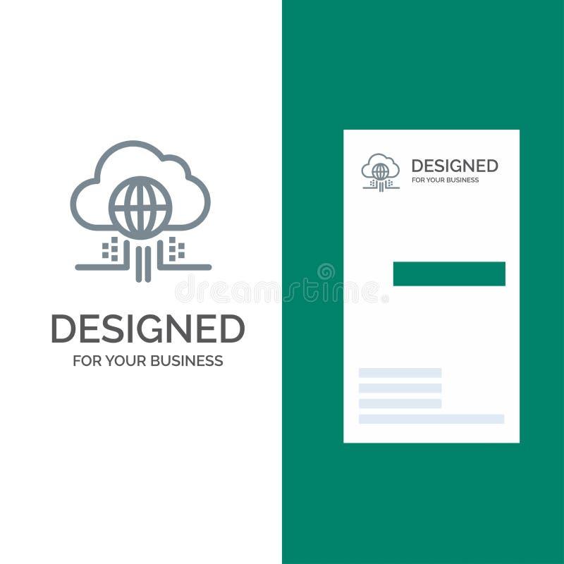 O Internet, pensa, nubla-se, tecnologia Grey Logo Design e molde do cartão ilustração royalty free