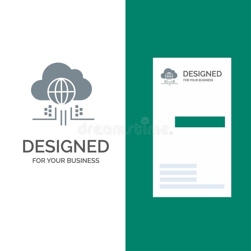O Internet, pensa, nubla-se, tecnologia Grey Logo Design e molde do cartão ilustração stock