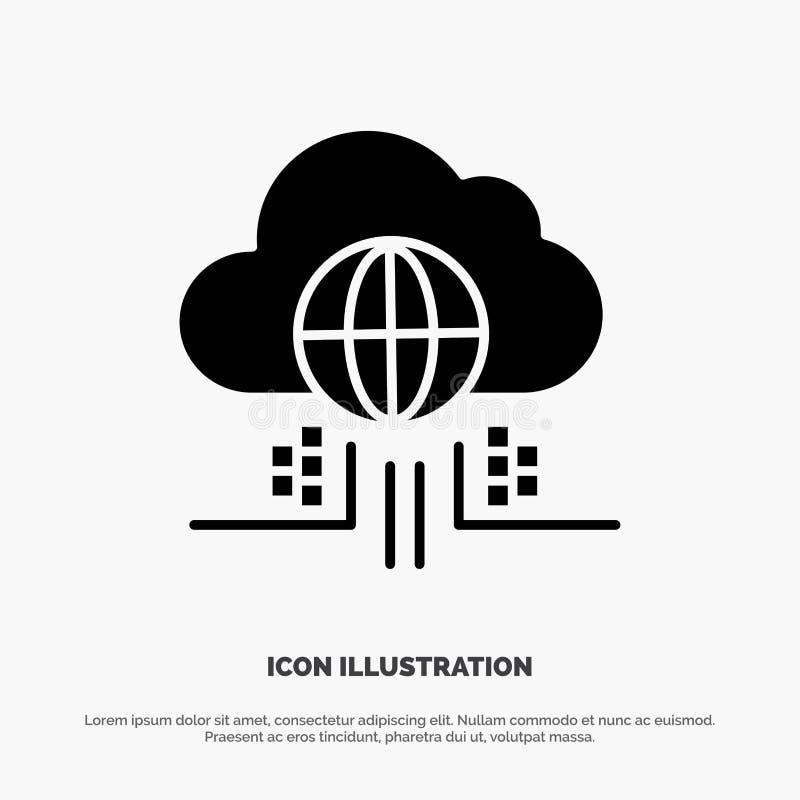 O Internet, pensa, nubla-se, vetor contínuo do ícone do Glyph da tecnologia ilustração royalty free