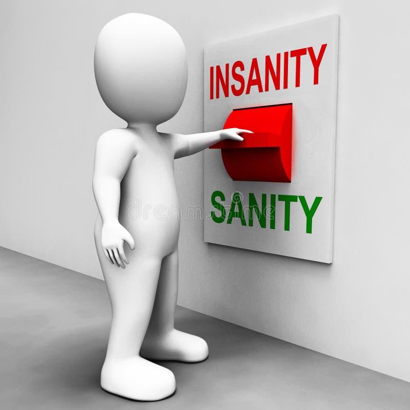 O interruptor da sanidade da demência mostra Sane Or Insane ilustração stock