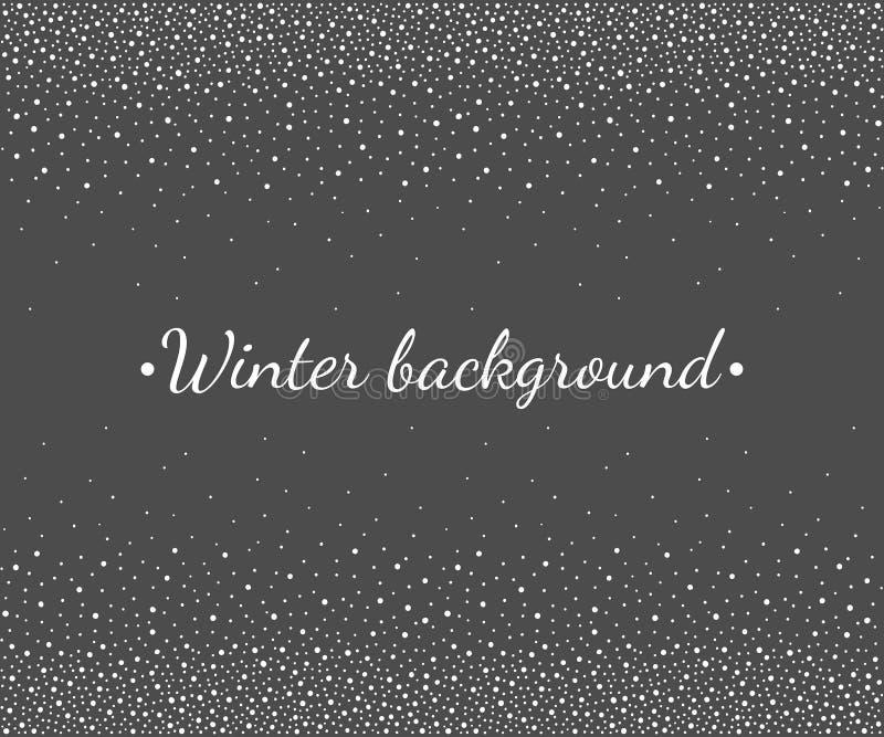 O inverno, beira de queda da neve do Natal, snowlakes pontilha o quadro ilustração do vetor