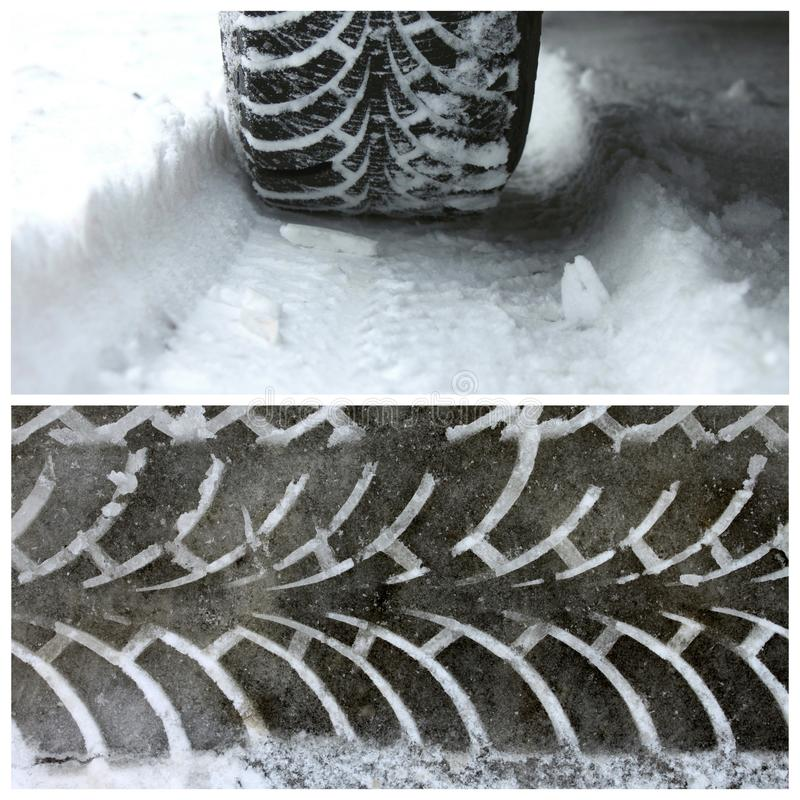 O inverno cansa-se na neve e em uma fuga do passo dos pneus do inverno fotos de stock royalty free