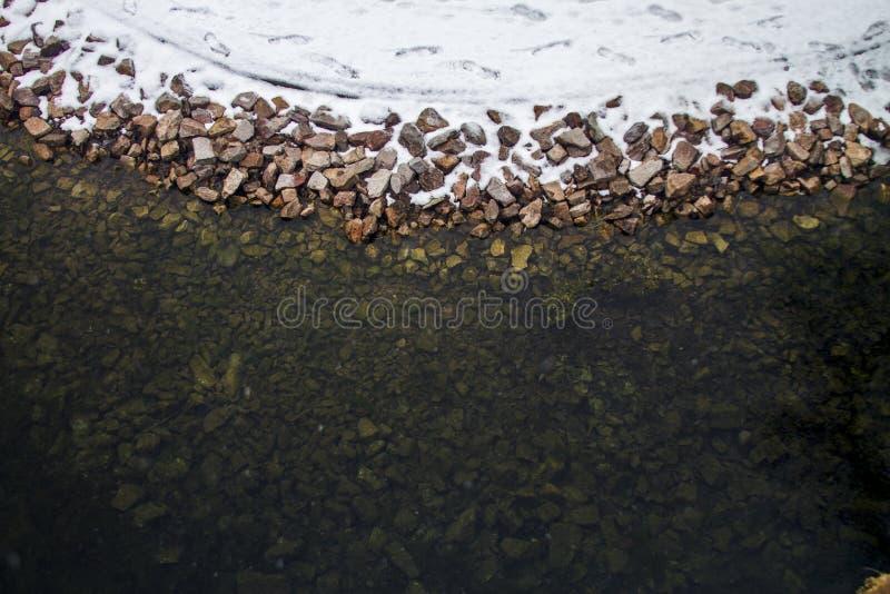 O inverno cobriu o vale no Spearfish, SD A água nesta lagoa não se congelará foto de stock
