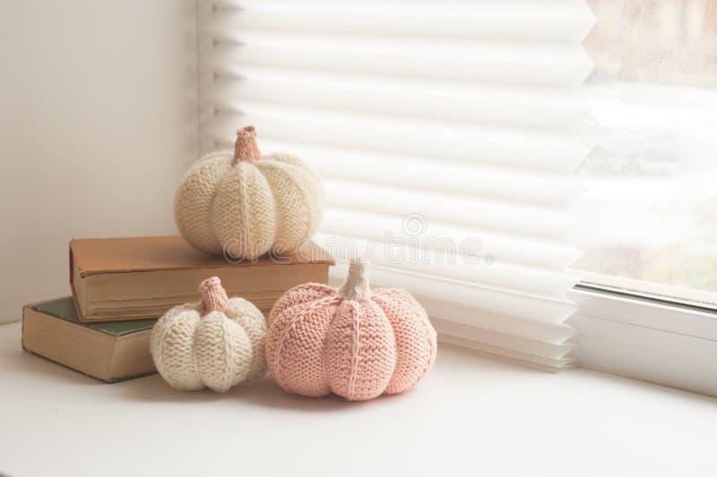 O inverno confortável e macio, outono, fundo da queda, fez malha a decoração e os livros em uma soleira Natal, dias de ação de gr foto de stock